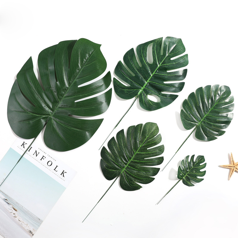 Palm-Leaves Monstera Arrangement-Plant-Leaf Fake-Flowers Wedding-Diy-Decoration Artificial