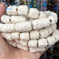 Natural Stone White Cylinder Volcanic Rock Lava Beads Spacer Loose For Jewelry Making 11*12 12*20MM DIY Bracelet Accessories