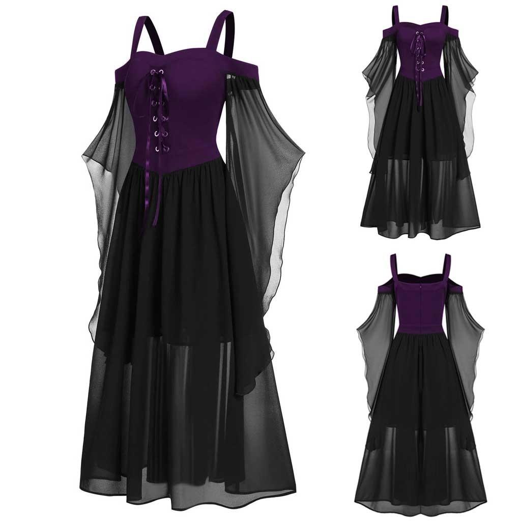 Womne Vintage Dress Plus Size Cold Shoulder Butterfly Sleeve Lace Up Gothic Dresses Halloween Dress Vestidos