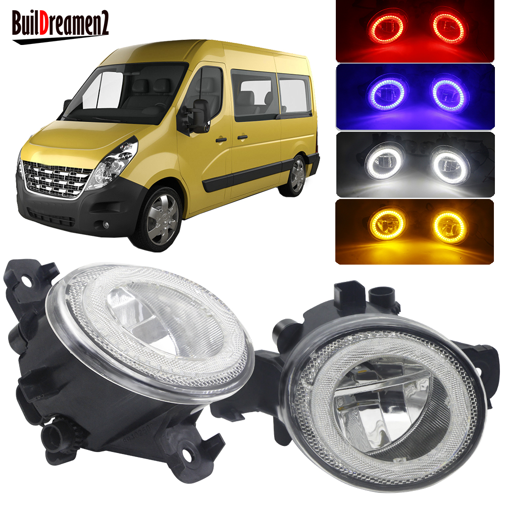 2 Pieces Car LED Angel Eye Fog Light H11 Front Bumper Fog Lamp DRL 4000LM 12V For Renault Master 3/III 2010-2015