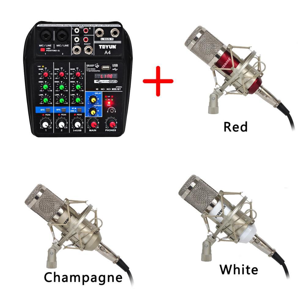 Freeboss A4 + BM 800 набор A4 звуковая микшерная консоль Bluetooth USB Запись воспроизведения компьютера и BM 800 конденсаторный микрофон|Профессиональная звукзапись|   | АлиЭкспресс