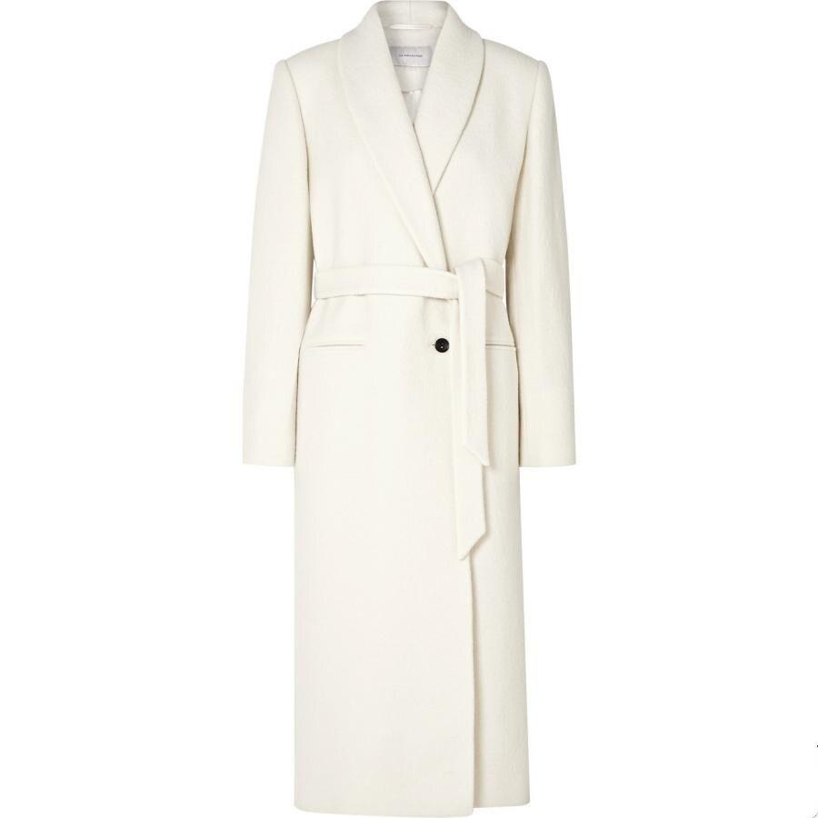 2019 autumn winter fashion one button woolen coat women slim belted long wool blends coat plus size 2XL