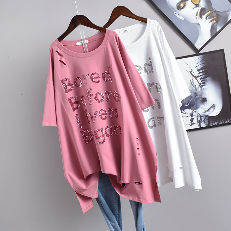 Casual Female Clothing Tunic Medium Long O-neck Plus Size Ripped Sequined Letter T-shirt Short Sleeve T Shirt Women