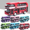 1:43 double decker bus simulation mold force control alloy car static toy collection