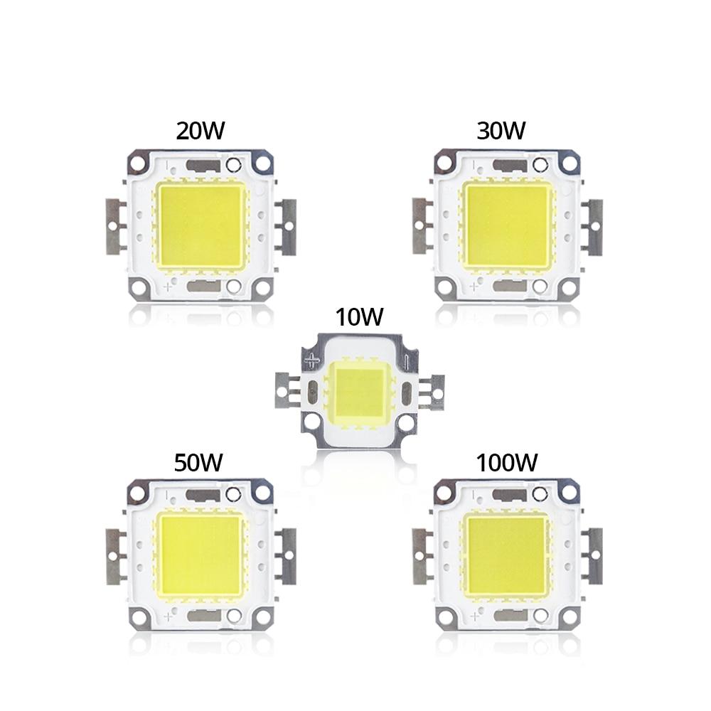 Светодиодный чип COB 10 Вт, 20 Вт, 30 Вт, 50 Вт, 100 Вт, постоянный ток 9-12 В, 30-36 в, встроенная матрица, диодные бусины, DIY прожектор заливающего света вы...