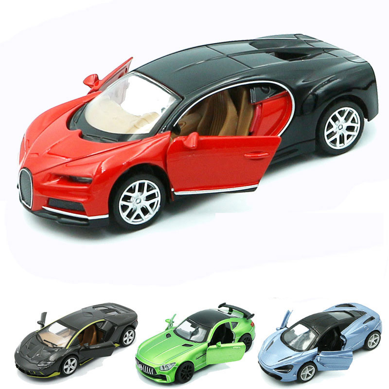 1:36 Real Alloy Bugatti Chiron Racing Car Mercedes Miniature Vehicles  Children Collection Model Kids Toy For Boy Gift