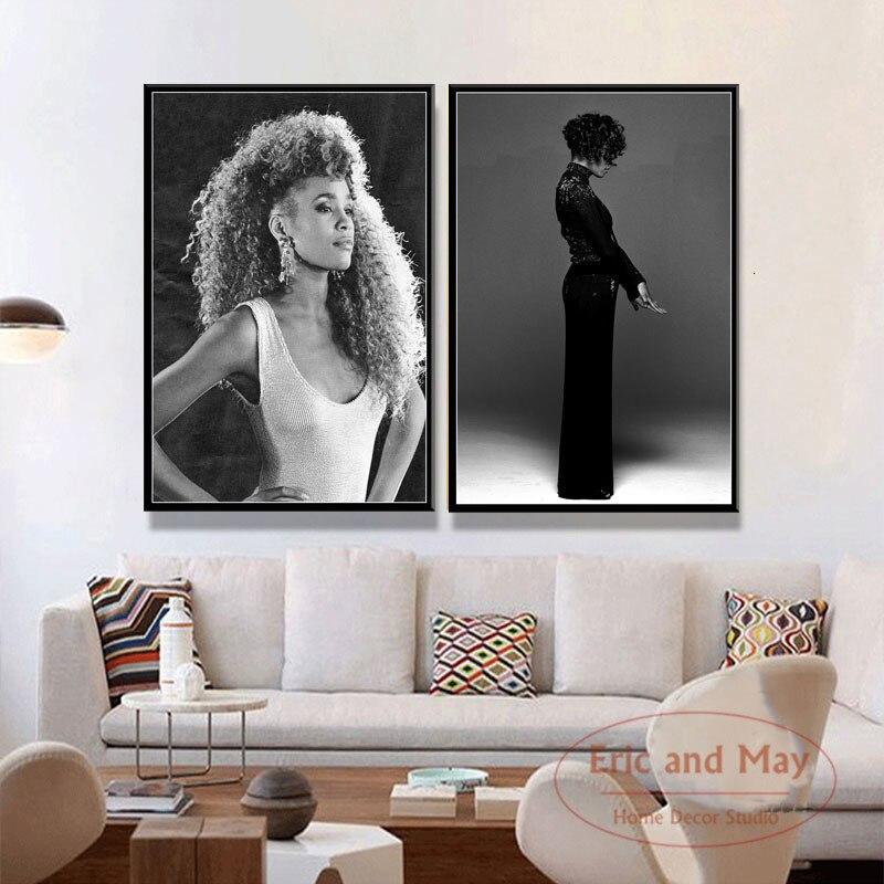 Whitney Houston Super müzik yıldız Pop şarkıcı sanat boyama Vintage tuval Poster duvar ev dekor