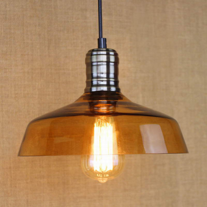 Modern industrial wind iron glass shade pendant lamp E27 220V LED suspension Lighting for bedroom restaurant parlor study office