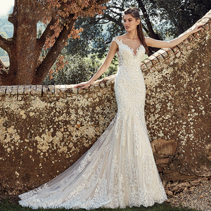 Image 2 - BAZIIINGAAA  Elegant Lace Mermaid Wedding Dress Full Floral Print Lace Up Church Suitable for Wedding Africa Europe Bride