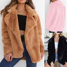 Женское зимнее пальто, теплая верхняя одежда, свободный большой воротник, меховое пальто, куртки, одноцветные пальто, Женское пальто, верхняя одежда# D1