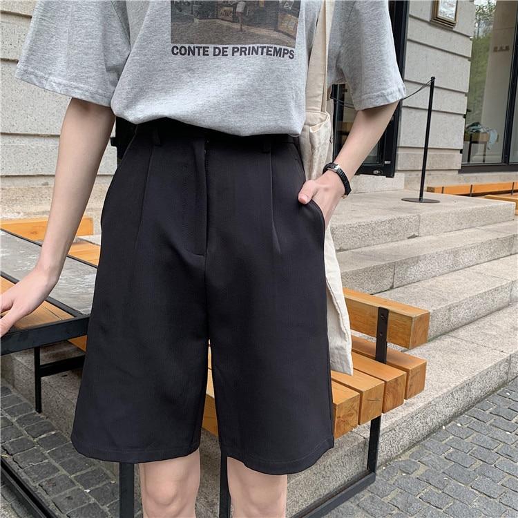 Hfbe40df3db1547df869f1d8b052c2cb5z - Summer High Waist Wide Leg Loose Solid Shorts