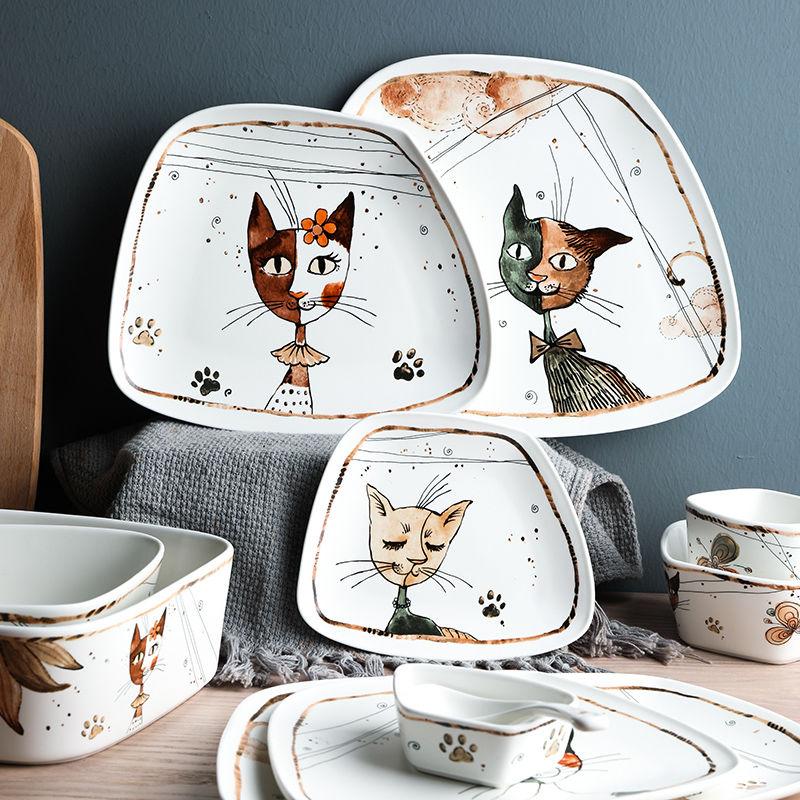 Керамическая посуда с милым мультяшным котом, бытовая миска для супа и лапши, тарелка для фруктов, стейков, блюда, креативный фарфоровый набор посуды|Блюдца и тарелки| | АлиЭкспресс