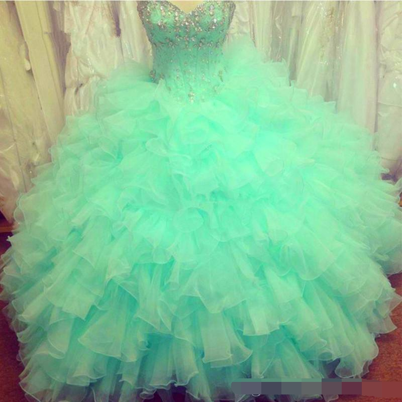 2019 Fashion Sweetheart Crystal Ball Gown Quinceanera Dresses Beading Organza Plus Sweet 16 vestidos de 15 anos prom dresses