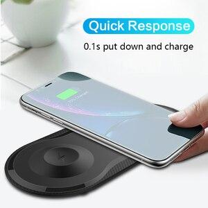 Image 3 - 2 Trong 1 Wirless Sạc Nhanh Miếng Lót Cho Samsung S9 S8 S10 Plus Note 7 8 iPhone 11 X Di Động sạc Không Dây Qi Cho IWatch 4 3 2 1