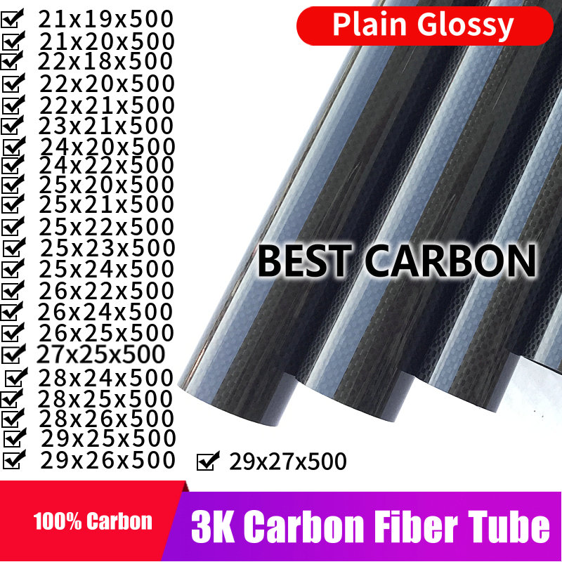 Free shiping 21 22 23 24 25 26 27 28 29mm with 500mm length High Quality Plain glossy 3K Carbon Fiber Fabric Wound Tube