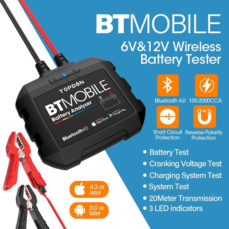 TOPDON Bluetooth автомобильный тестер батареи 12 в беспроводной монитор батареи от 100 до 2000CCA автоматическое зарядное устройство для подзарядки автомобиля анализатор батареи инструмент Тестеры аккумуляторов      АлиЭкспресс