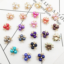10pcs/Gold plating Colorful Pearl Rhinestone  Fit Shoes and apparel DIY Jewellery Accessories For Women Wedding Party Gift H