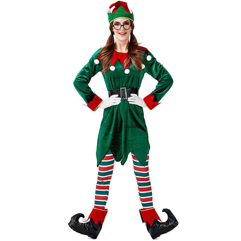 Adlut маленький помощник зеленый Рождественский эльф Необычные платья для косплея костюм для женщин