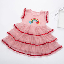 New Girls Dresses Fashion Summer Rainbow Color Block Cute Baby Girl Clothes Cotton Party Dresses for Kids Princess Girls Dress girls dress fox squirrel bird mushroom striped cotton 2018 summer princess wedding party dresses kids clothes size 7 14 pageant