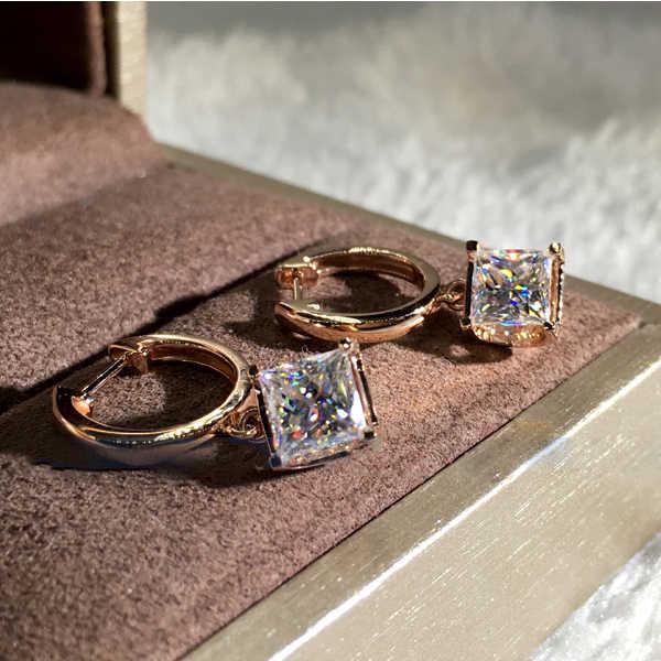 Di lusso Femminile Piccola Piazza del diamante Orecchini Del Cerchio di Modo 925 Argento In Oro Rosa Monili di Cerimonia Nuziale Doppio Orecchini di Pietra Per Le Donne