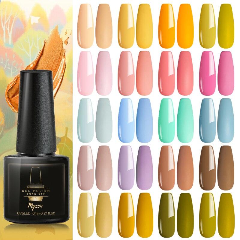 Mtssii Gel Nail Polish Pure Color Semi Permanent Base top Need UV LED lamp For Manicure Varnish Paint Hybrid Spring Nail gel(China)