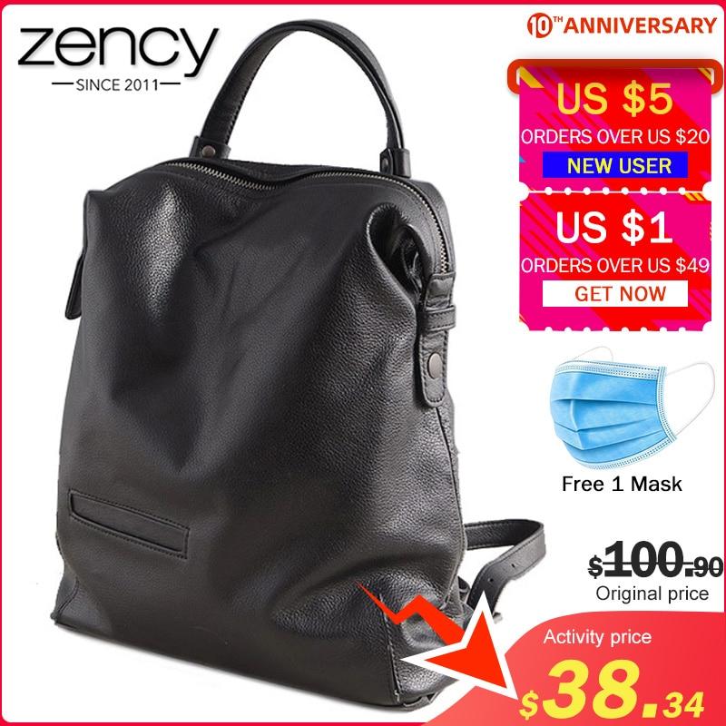 Zency Black Fashion Women Backpack 100% Real Cow Genuine Leather Schoolbag For Girl Female Travel Bag Large Laptop Knapsack