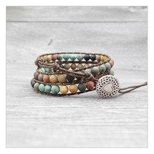 Boêmio boho pulseiras vintage corte e pedra natural 3 fios multi-camada tecido artesanal envolvente pulseiras coração charme