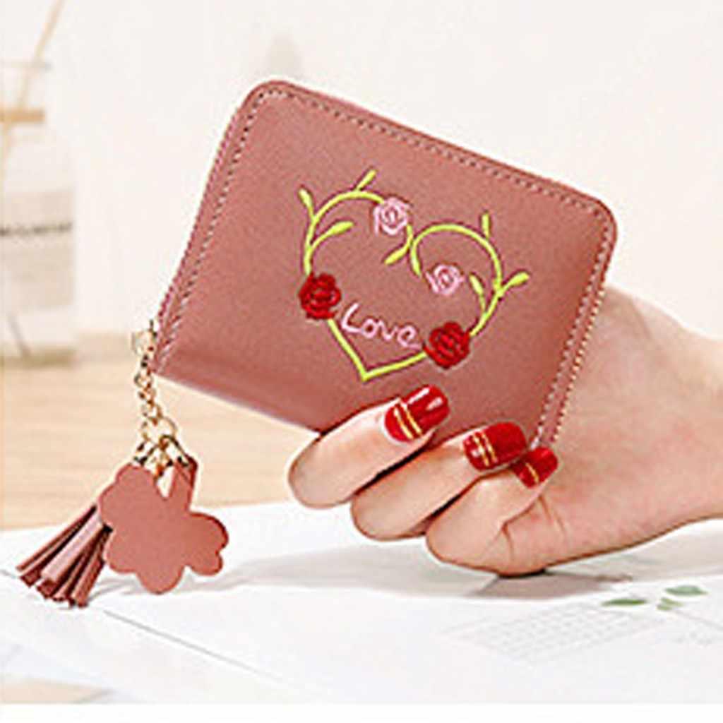 Damski wyjściowy modny Trend jednokolorowy kwiat frędzlami skórzany portfel na karty L wielofunkcyjna torba na karty kobiety portfel portmonetka