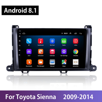 Android 8.1 Car Radio For Toyota Sienna 2009 2010 2011 2012 2013 2014 Multimedia GPS Support USB FM SWC TV Mirror Link Carplay image