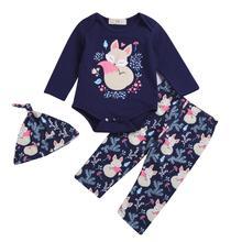 цены New Born Baby Girl Cotton Long Sleeve Romper/Pants/hat 3pcs Set Little Kids Clothing Cute Fox Printed