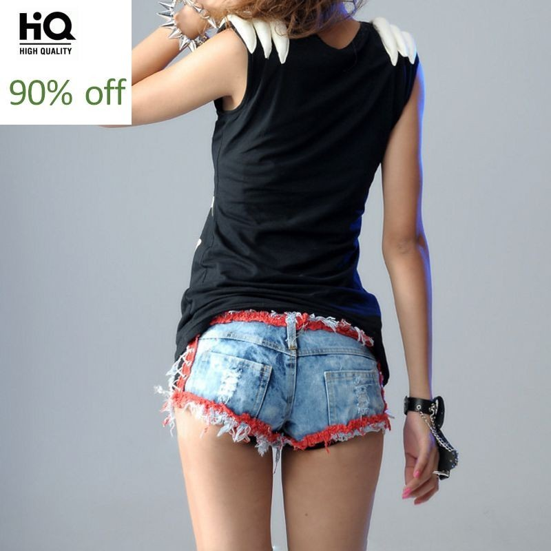 2020 New Fashion Womens Streetwear Fur Trim Low Waist Skinny Shorts Female Jeans Denim Hole Ripped White Red Pockets Lace Up