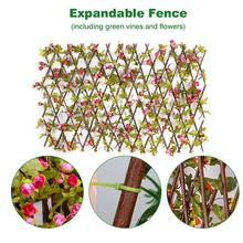 Fence Screening Expanding Trellis Garden-Decoration Hedge Wooden with Two-Colors Buds-Leaves