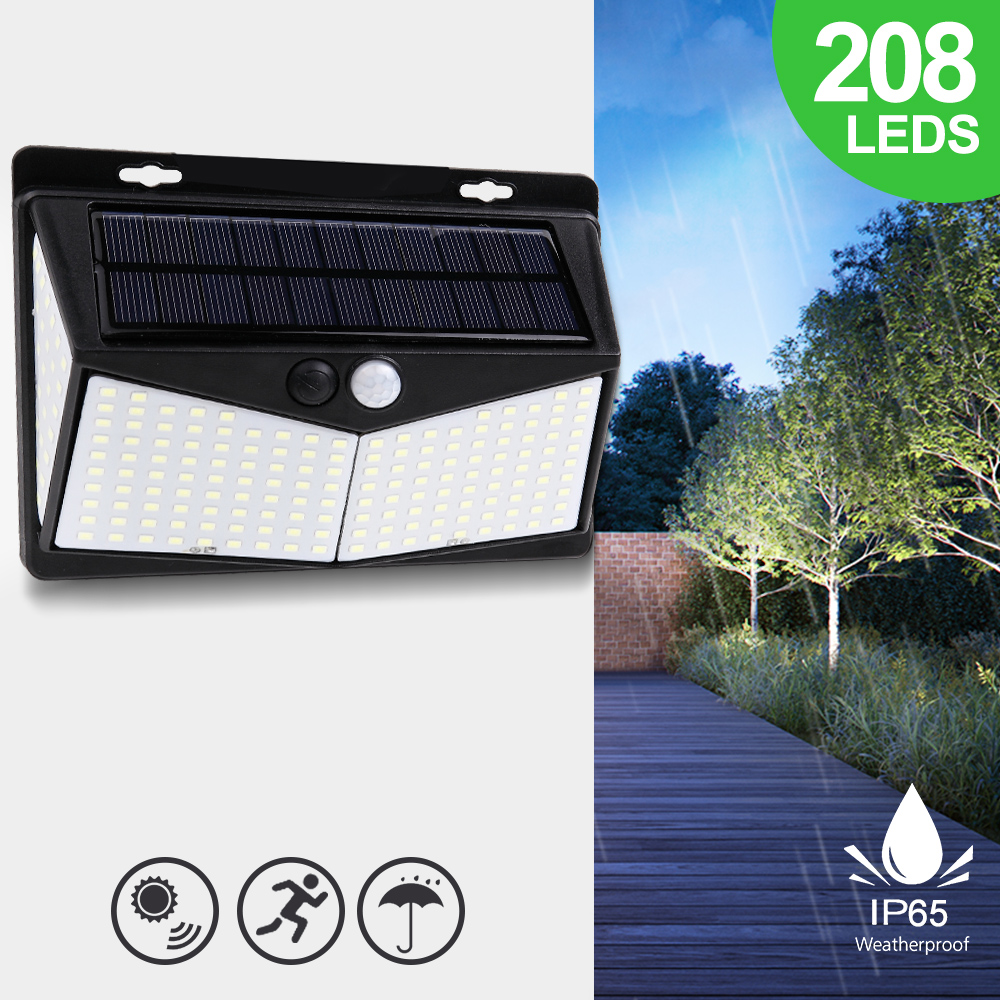 Solar Lights Outdoor 108/208 LEDs 3 Modes Motion Sensor 270 Wide Angle Waterproof Lighting