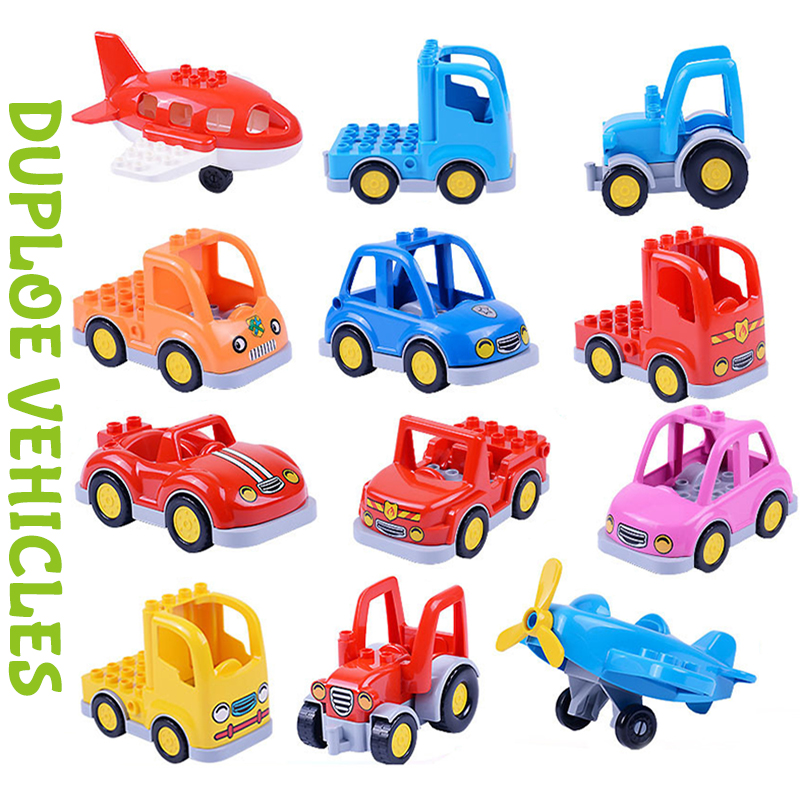 City Duploe Car Building Blocks Children Toys Big Size Brick Toys Cartoon Cars Airplane Train Model Toys For Children Kids Xmas