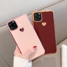 ONEPLANT Electroplated Love Heart Phone Case For iPhone 11 Pro Max XR XS X XS Max Silica Gel Phone Cover For 7 8 6 6S Plus oneplant electroplated love heart phone case for iphone 11 pro max xr xs x xs max silica gel phone cover for 7 8 6 6s plus