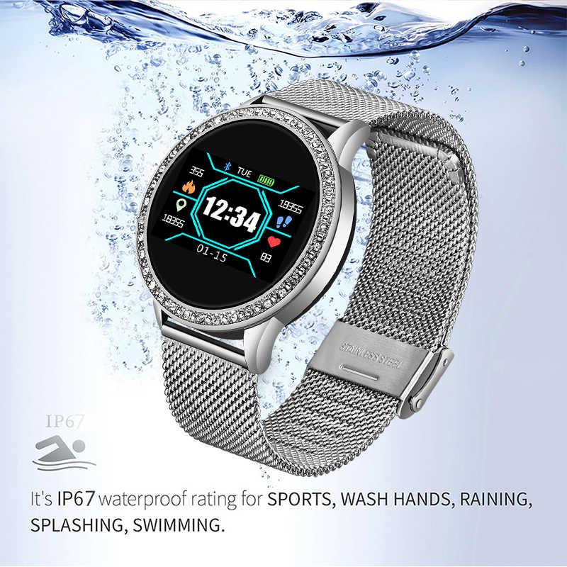Ini 2019 Baru Smart Watch Wanita OLED Warna Layar Smartwatch Pria Fashion Kebugaran Tracker Heart Rate Monitor untuk Android IOS + Kotak