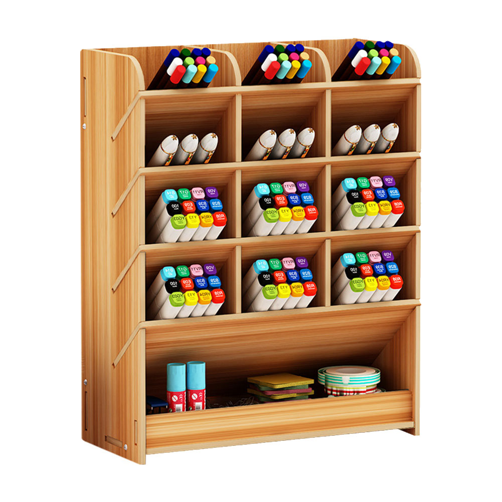 Stationery Storage Separate Parts Pen Holder Wooden Rack With Drawer Office Study Space Saving Desk Organizer DIY Large Capacity