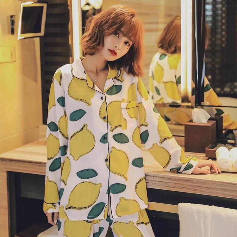 SPRING & FALL  Women Pajamas Set Cartoon Lemon Printed Comfort Cotton Satin Sleepwear Set Cardigan+Pants Femme Sweet Homewear