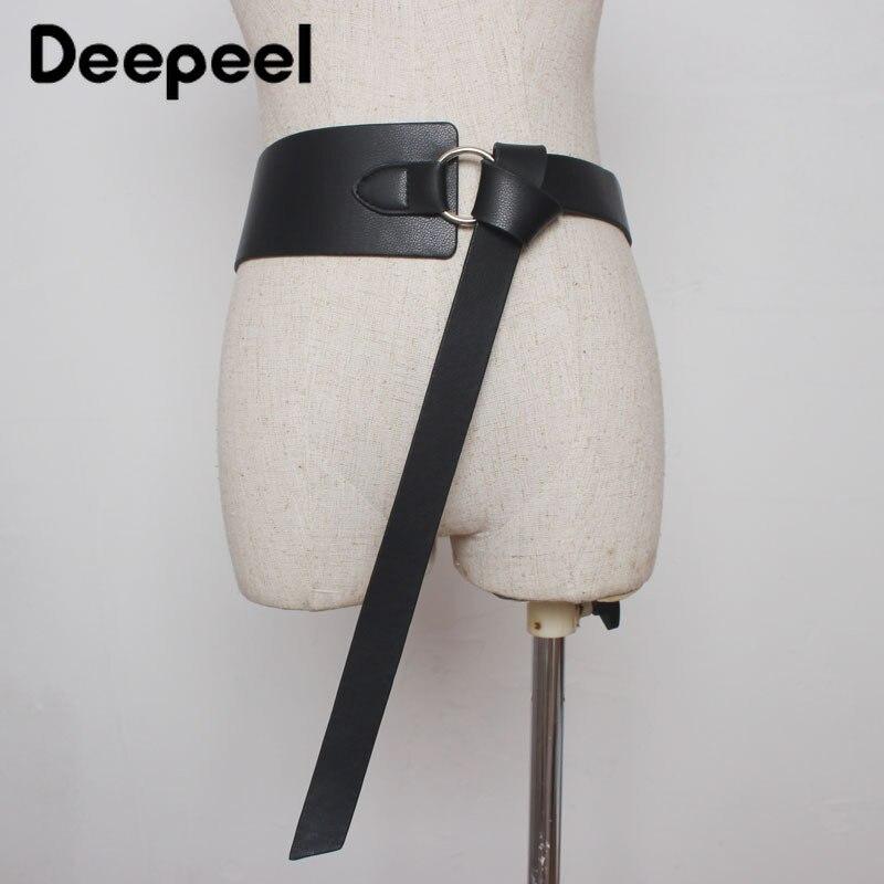 Deepeel 1pc 2.5cm-7cm*128cm New Womens Wide Cummerbund Vintage Leather Accessories Belt Metal Round Buckle Knotted Girdle YK733