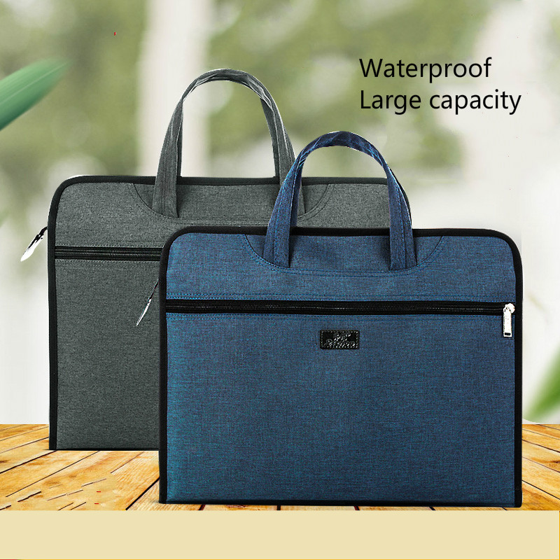A4 Briefcase File Folder Business Office Bag Oxford Canvas Men Women Airbag Portable Zipper Waterproof Large Capacity Organizer