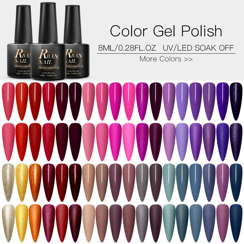 Rban Kuku 60 Warna Matte Uv Gel Nail Polish 8 Ml Pure Warna Kuku Perlu Matte Top Coat Rendam Off nail Art Gel Varnish Manicure