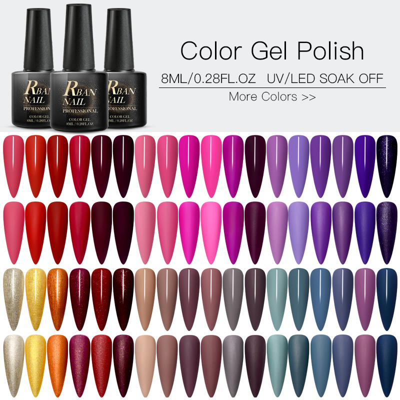 RBAN NAIL 60 Colors Matte UV Gel Nail Polish 8ml Pure Nail Color Need Matte Top Coat Soak Off Nail Art Gel Varnish Manicure