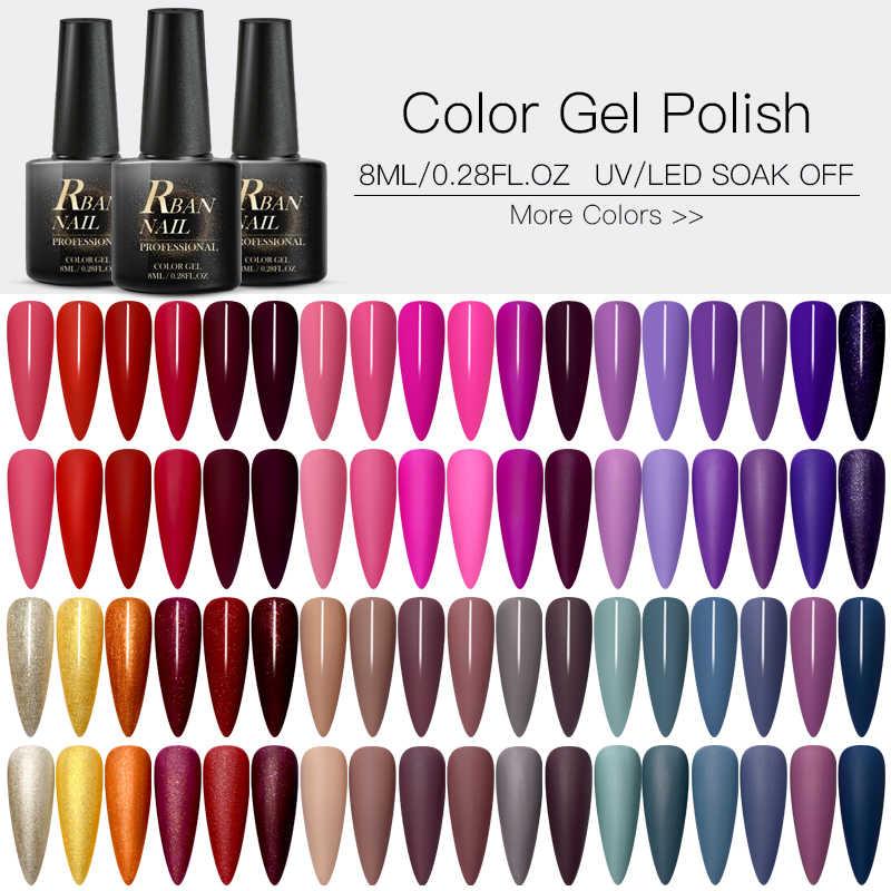 RBAN ongle 60 couleurs mat UV Gel vernis à ongles 8ml Pure couleur des ongles besoin mat couche de finition tremper hors ongle Art Gel vernis manucure