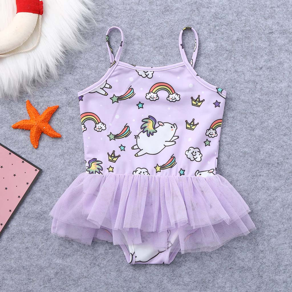 Toddler Kids Baby Girl Swimwear 2019  Kids Baby Girls Cartoon Pig Print Summer Swimwear Swimsuit Vest Romper Jumpsuits A1