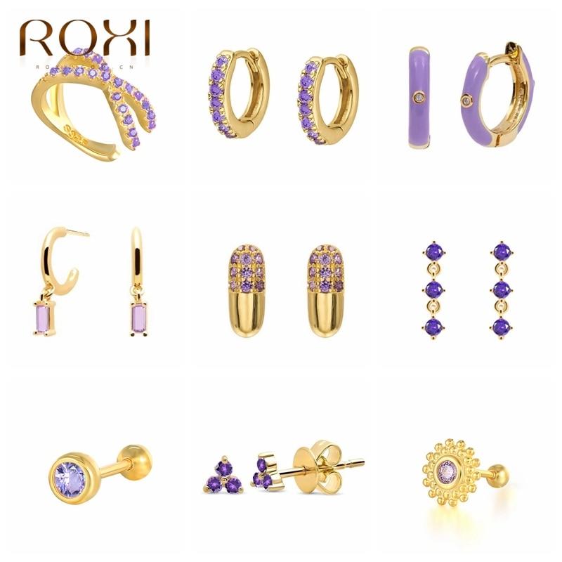 Серьги-кольца ROXI с фиолетовыми кристаллами для женщин и девушек, летняя бижутерия, серьги 2021, модные серебряные геометрические серьги Huggie 925