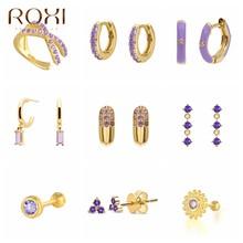 Roxi roxo cores cristais brincos de argola para mulheres menina verão jóias brincos 2021 na moda prata 925 geometria huggie brincos