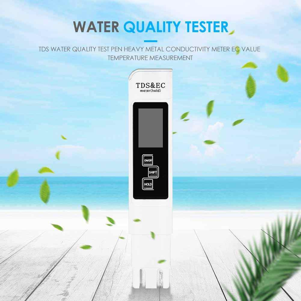 Professional Portable Water Quality Tester with Range at 0-9990 PPM Multifunction Water Purity Temperature Meter Blue Digital LCD Water Quality Testing Pen