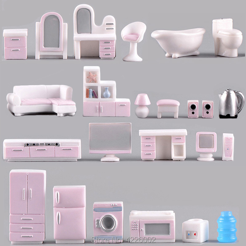 Resin Doll Miniature Dollhouse Furniture Accessories Sofa TV Dresser Mini 3D Simulation Baby Room Play Set Kids Toys For Dolls