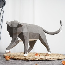 Lovely Cat Paper 3D DIY Material Manual Creative Home Desk Decor Props #1156 Hand Made Cute Geometric Paper Figures