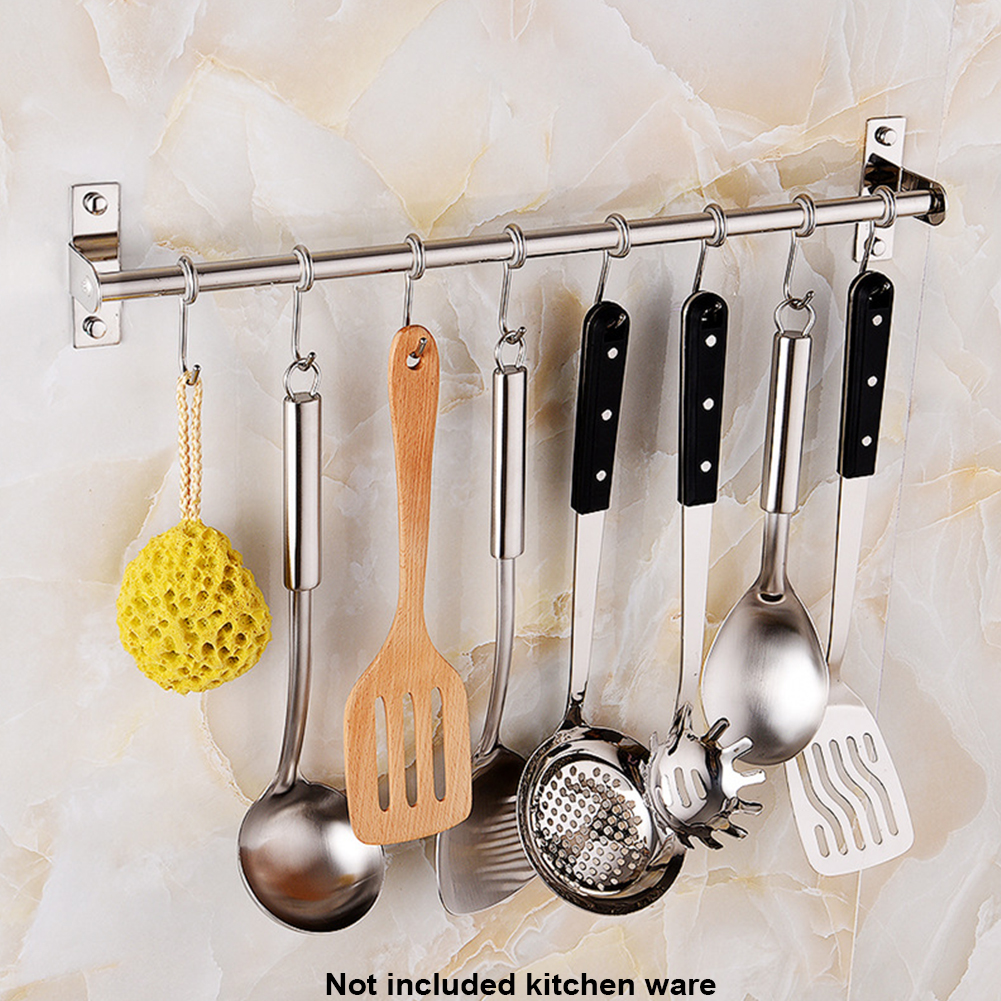1 шт. кухонная стойка для хранения из нержавеющей стали, настенная подставка для кастрюли, кухонная утварь, вешалка, органайзер, крючки для х...